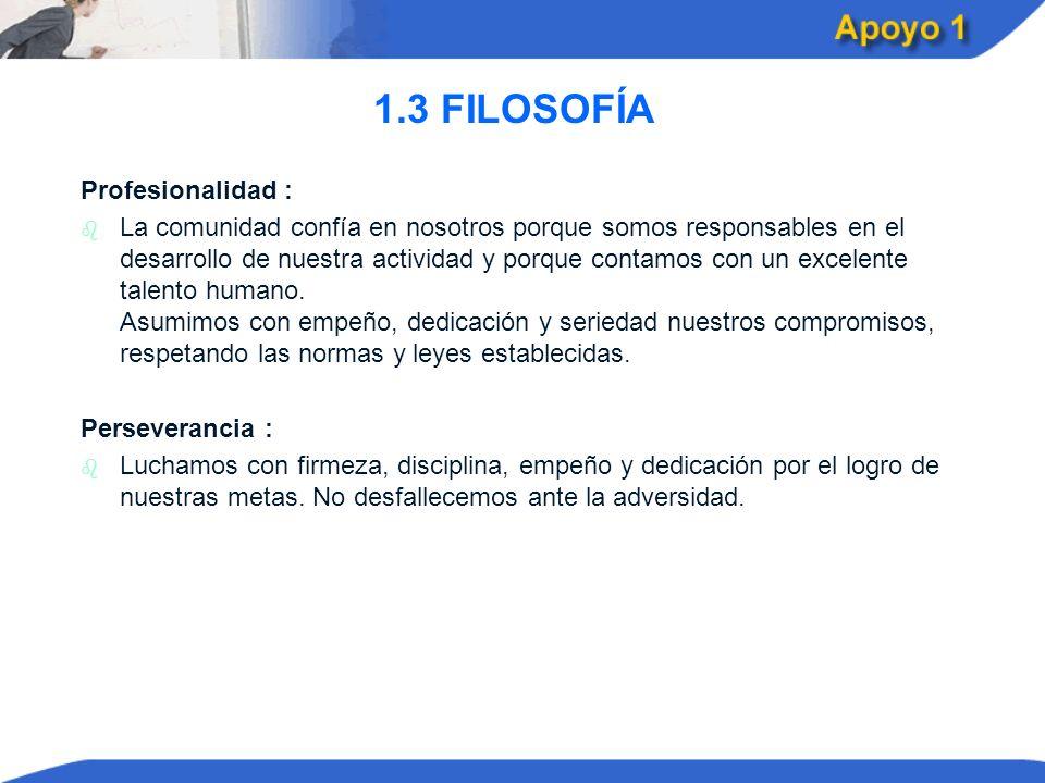 1.3 FILOSOFÍA Profesionalidad :