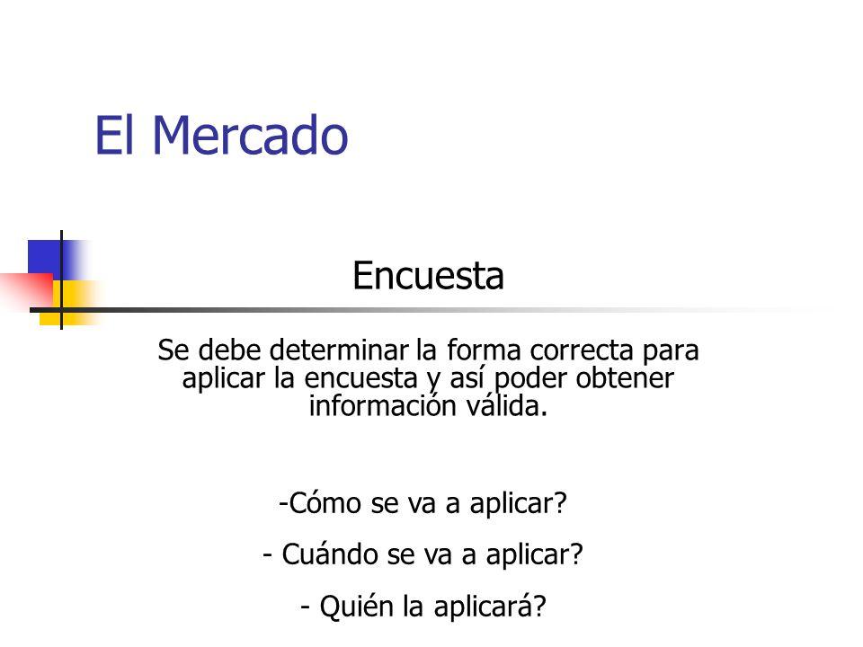 El Mercado Encuesta. Se debe determinar la forma correcta para aplicar la encuesta y así poder obtener información válida.