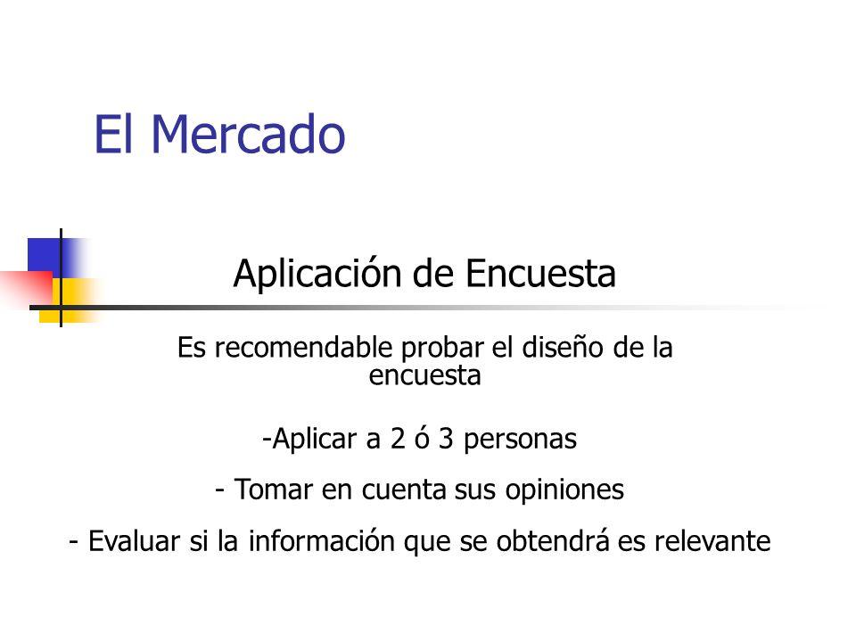 Aplicación de Encuesta Es recomendable probar el diseño de la encuesta