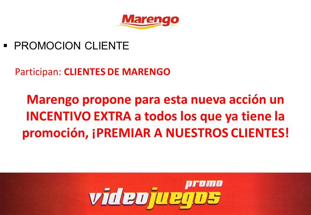 PROMOCION CLIENTE Participan: CLIENTES DE MARENGO.