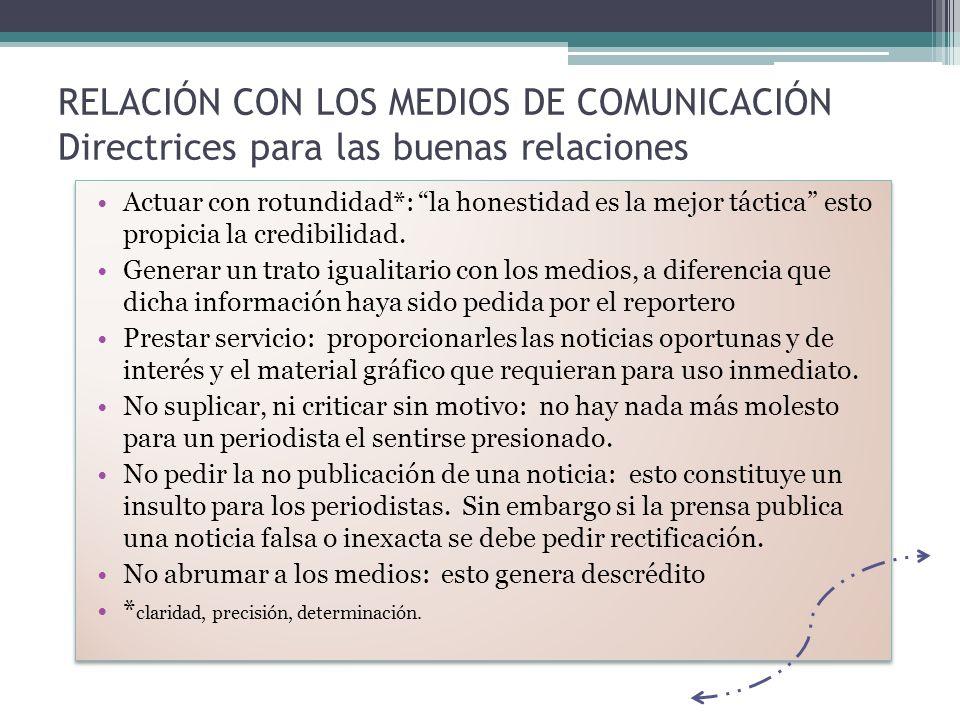 RELACIÓN CON LOS MEDIOS DE COMUNICACIÓN Directrices para las buenas relaciones