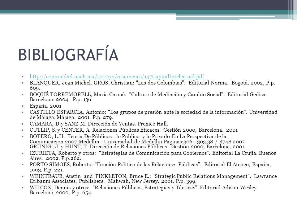 BIBLIOGRAFÍA http://comunidad.uach.mx/rarroyo/resumenes/147CapitalIntelectual.pdf.