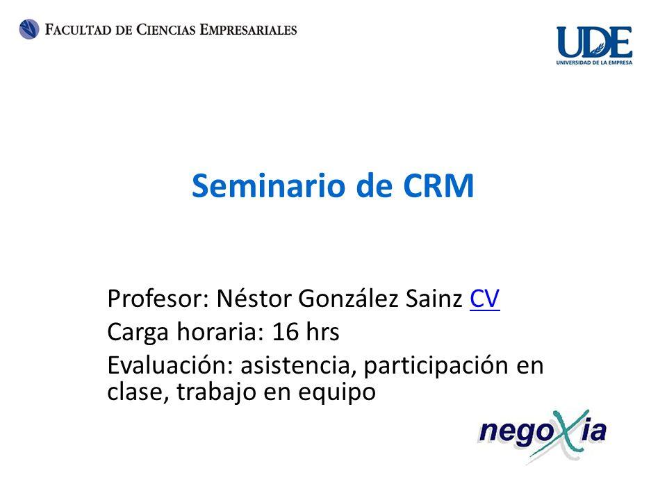 Seminario de CRM Profesor: Néstor González Sainz CV