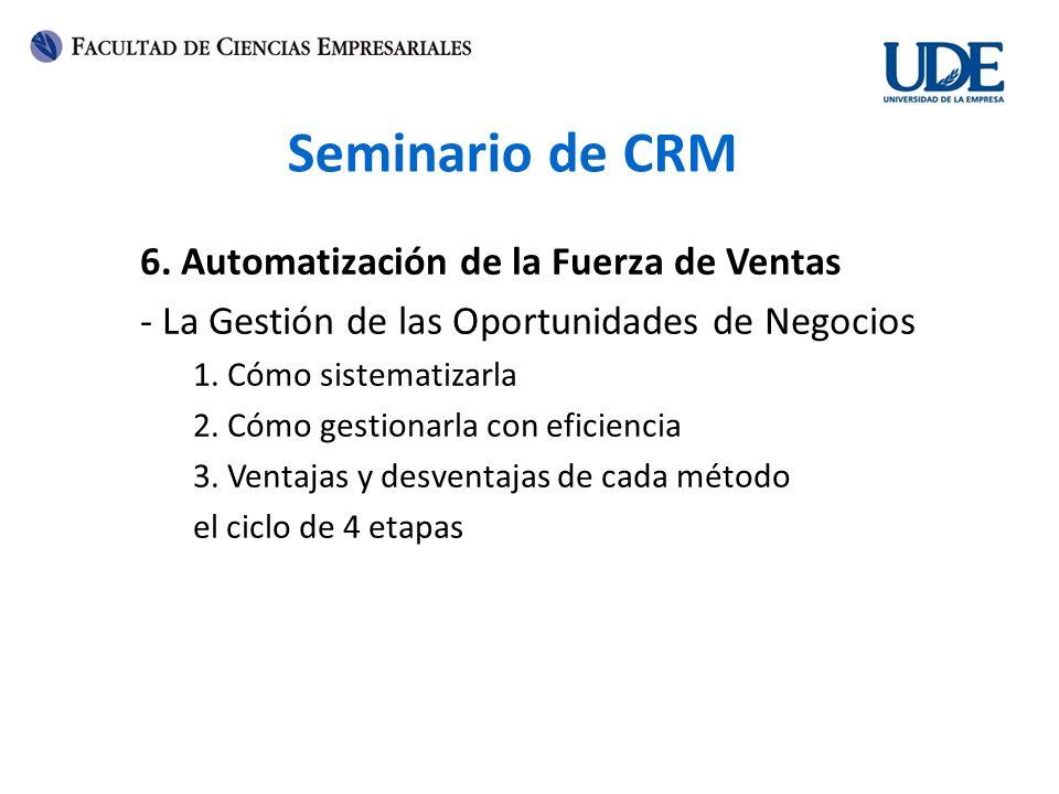 Seminario de CRM 6. Automatización de la Fuerza de Ventas