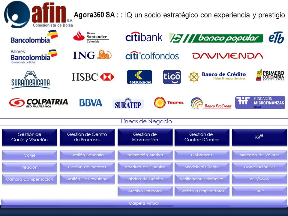 Agora360 SA : : iQ un socio estratégico con experiencia y prestigio