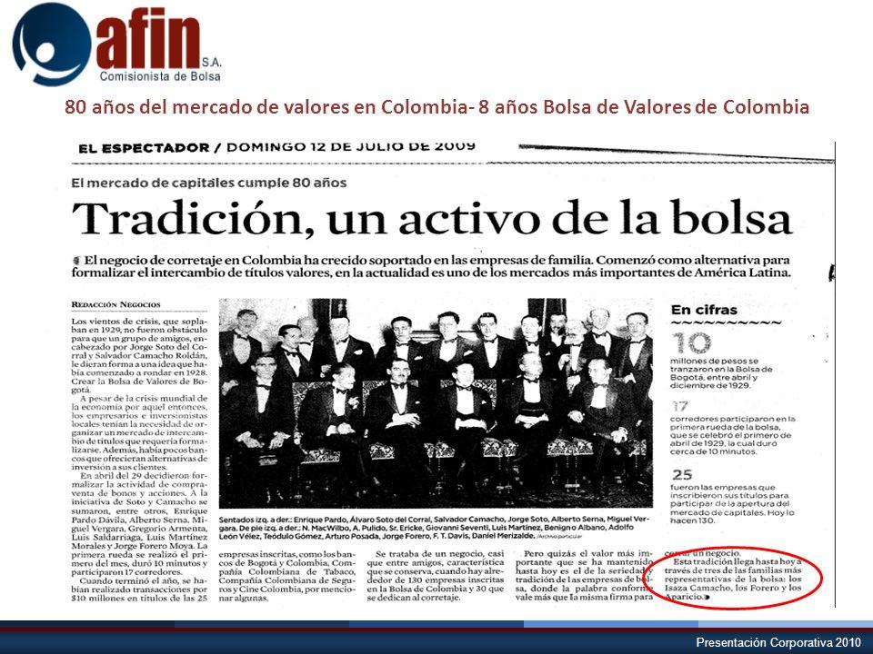 80 años del mercado de valores en Colombia- 8 años Bolsa de Valores de Colombia