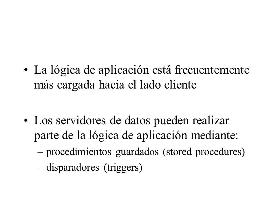 La lógica de aplicación está frecuentemente más cargada hacia el lado cliente