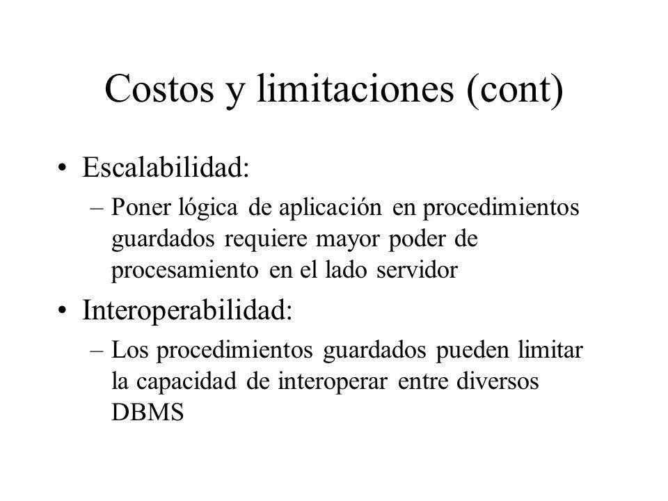 Costos y limitaciones (cont)
