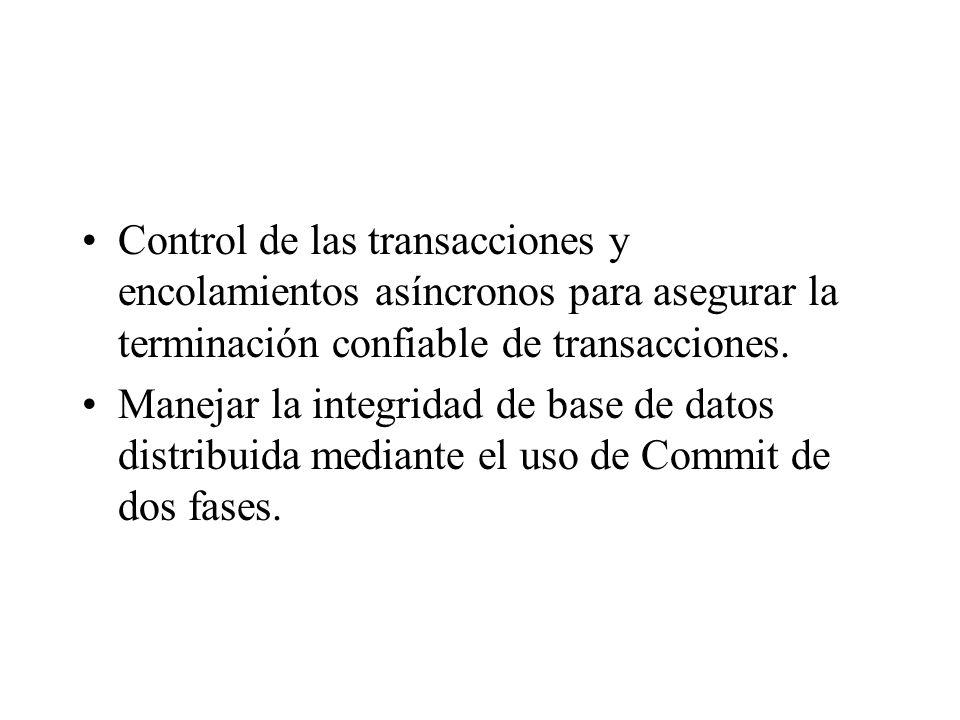 Control de las transacciones y encolamientos asíncronos para asegurar la terminación confiable de transacciones.
