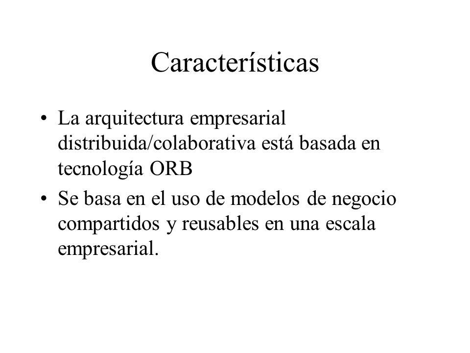 Características La arquitectura empresarial distribuida/colaborativa está basada en tecnología ORB.
