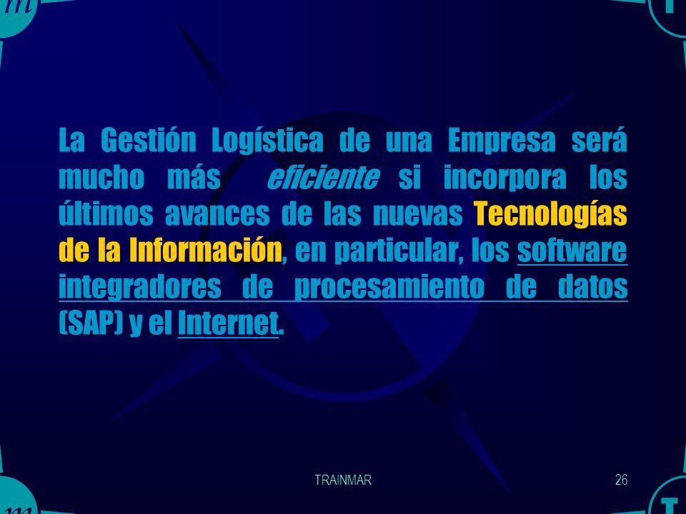 La Gestión Logística de una Empresa será mucho más eficiente si incorpora los últimos avances de las nuevas Tecnologías de la Información, en particular, los software integradores de procesamiento de datos (SAP) y el Internet.