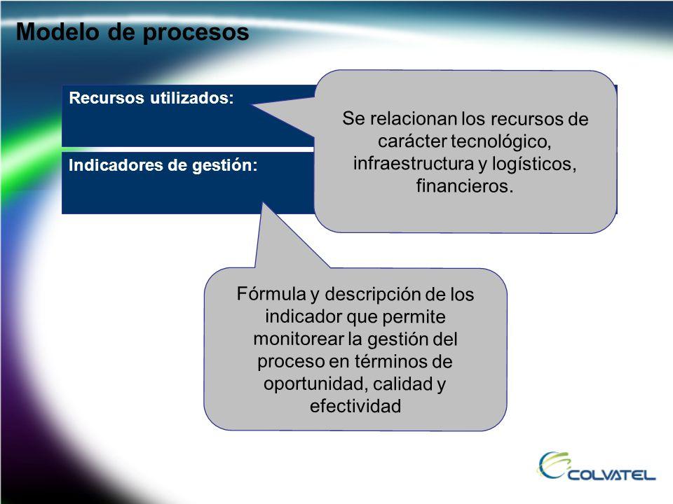 Modelo de procesos Se relacionan los recursos de carácter tecnológico, infraestructura y logísticos, financieros.