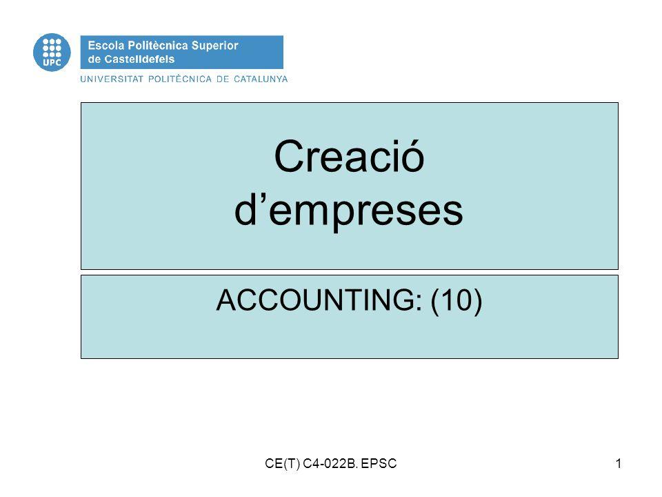 Creació d'empreses ACCOUNTING: (10) CE(T) C4-022B. EPSC