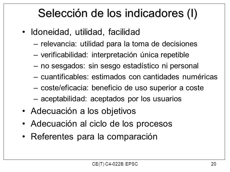 Selección de los indicadores (I)
