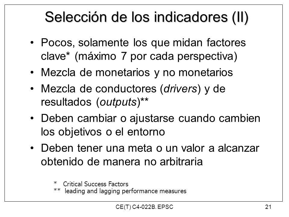 Selección de los indicadores (II)