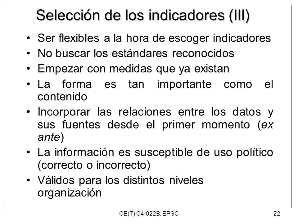 Selección de los indicadores (III)