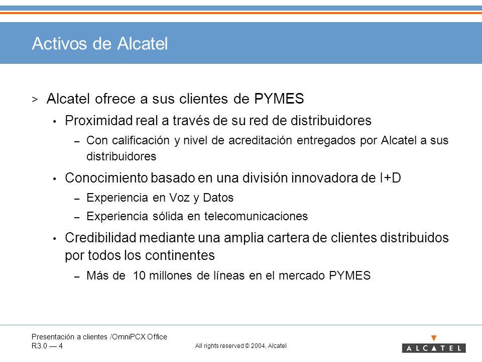 Activos de Alcatel Alcatel ofrece a sus clientes de PYMES