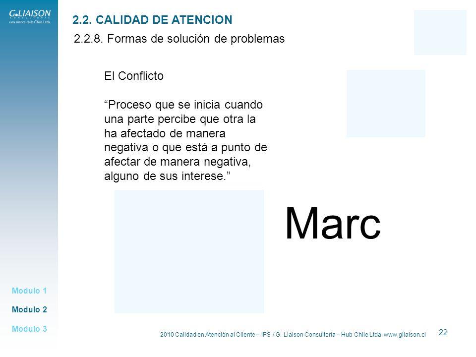 Marc 2.2. CALIDAD DE ATENCION 2.2.8. Formas de solución de problemas