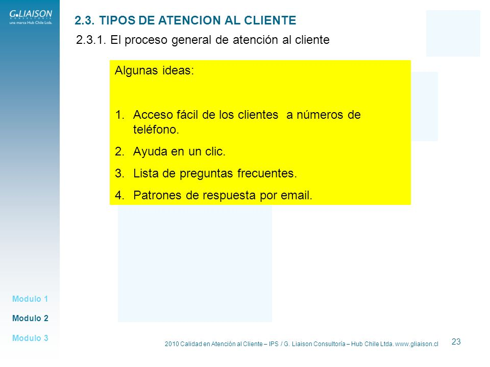 2.3. TIPOS DE ATENCION AL CLIENTE