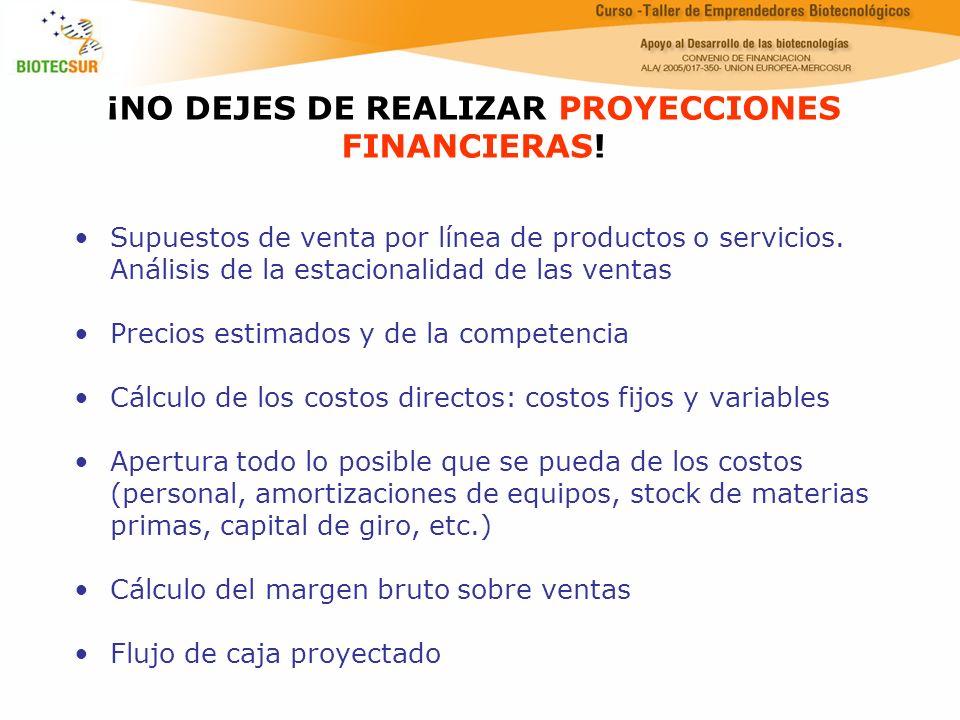 ¡NO DEJES DE REALIZAR PROYECCIONES FINANCIERAS!