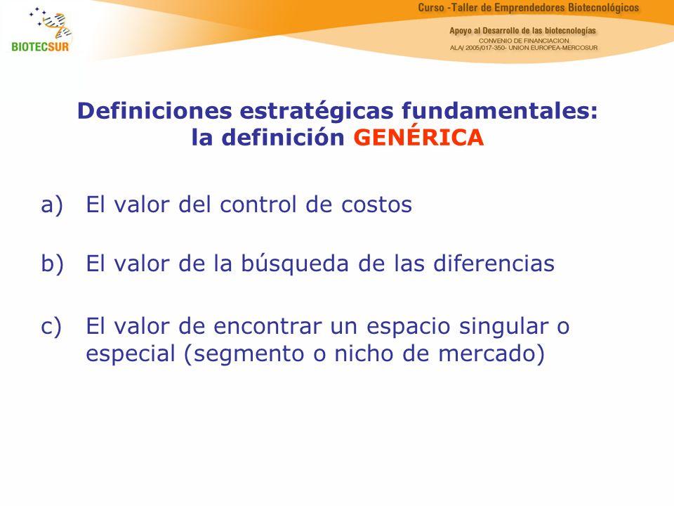 Definiciones estratégicas fundamentales: la definición GENÉRICA