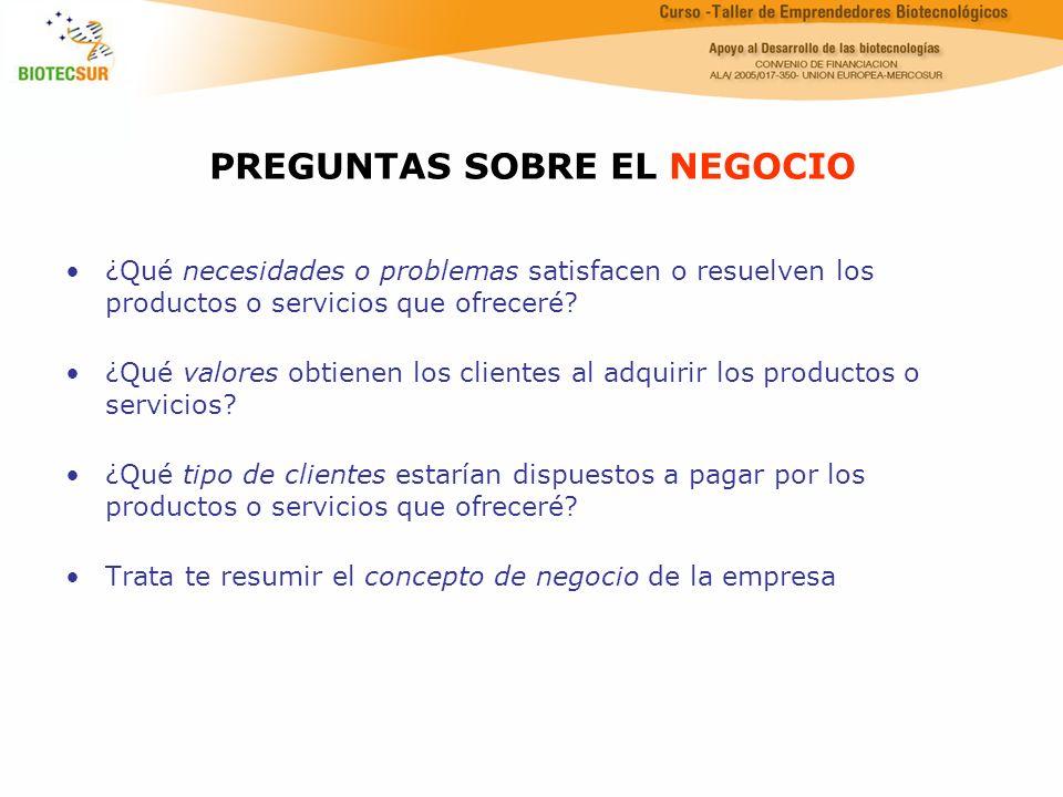 PREGUNTAS SOBRE EL NEGOCIO