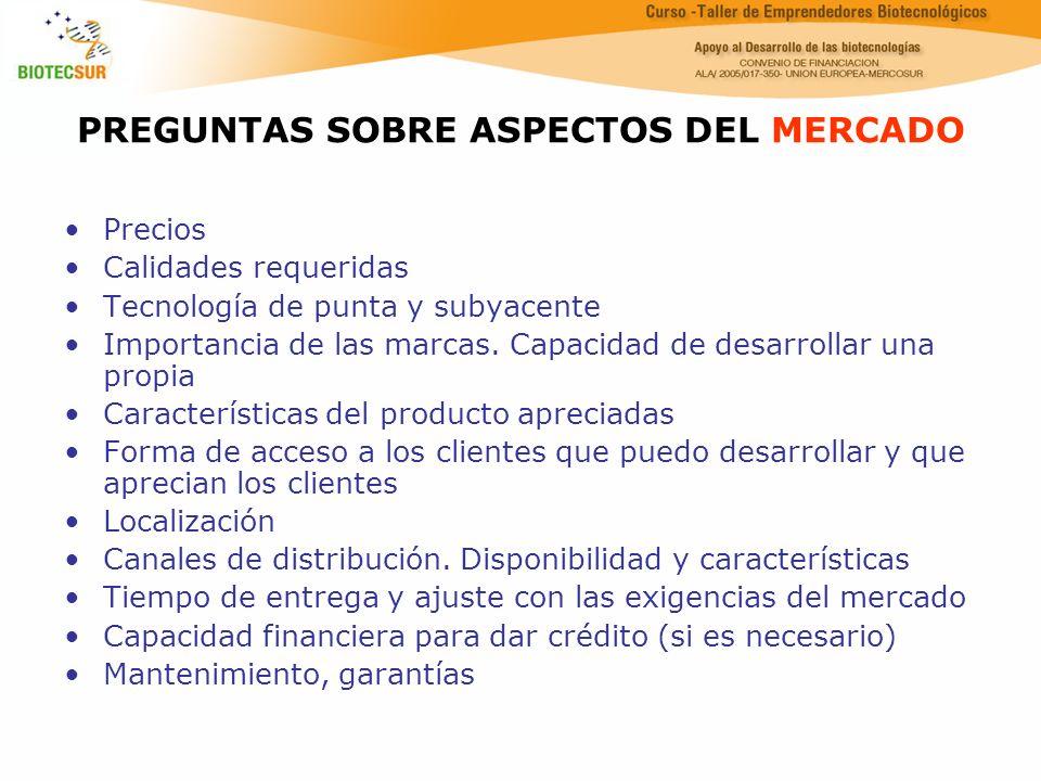 PREGUNTAS SOBRE ASPECTOS DEL MERCADO