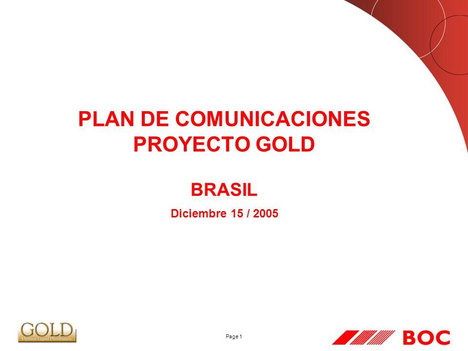 PLAN DE COMUNICACIONES PROYECTO GOLD BRASIL Diciembre 15 / 2005