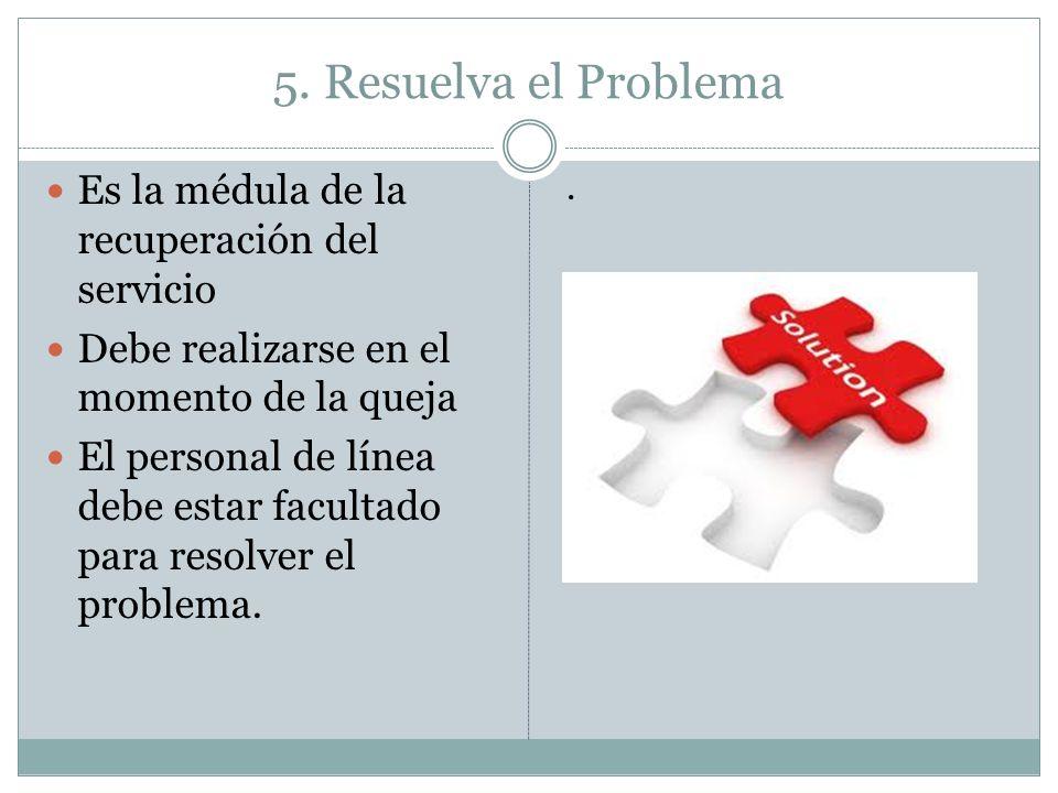 5. Resuelva el Problema Es la médula de la recuperación del servicio