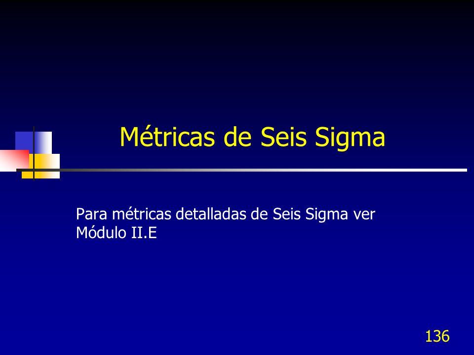 Para métricas detalladas de Seis Sigma ver Módulo II.E
