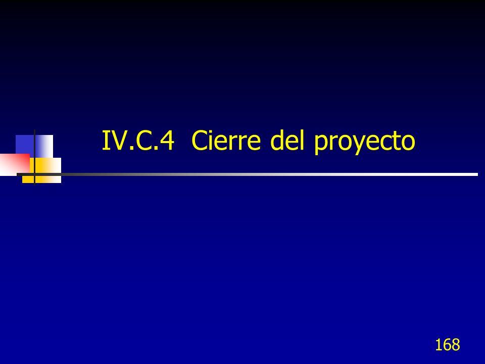 IV.C.4 Cierre del proyecto