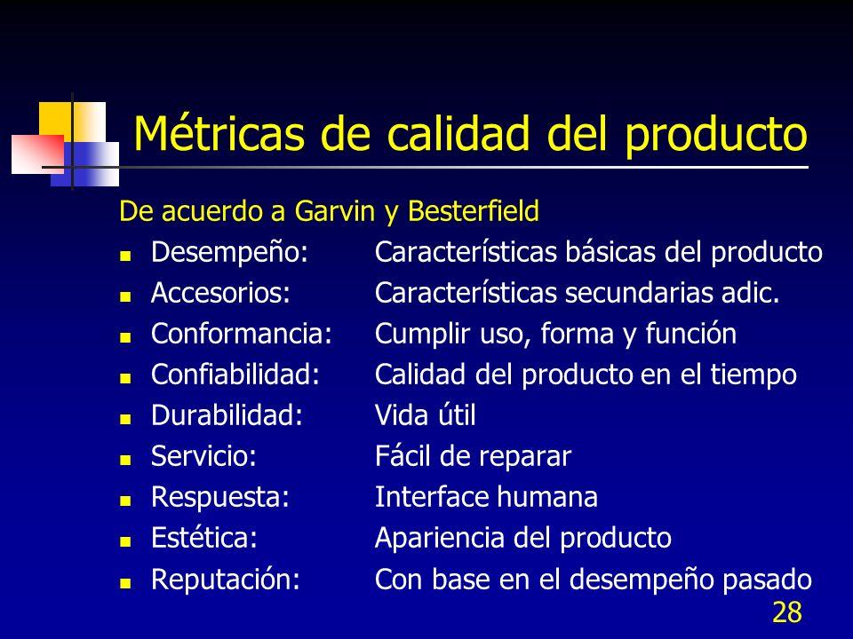 Métricas de calidad del producto