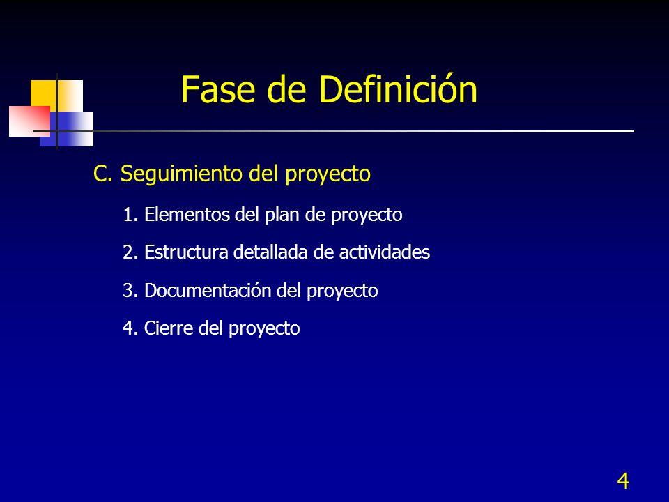 Fase de Definición C. Seguimiento del proyecto