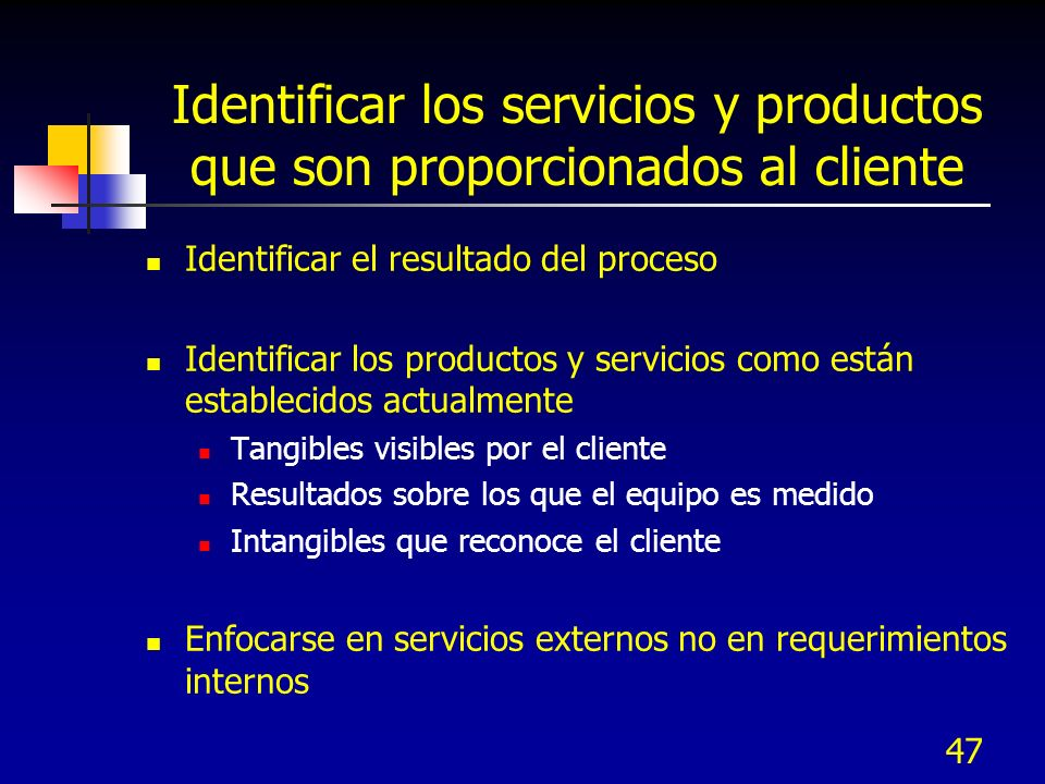 Identificar los servicios y productos que son proporcionados al cliente