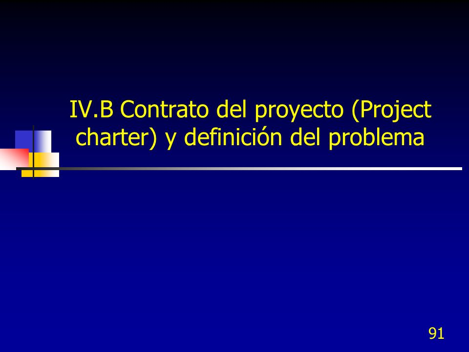 IV.B Contrato del proyecto (Project charter) y definición del problema
