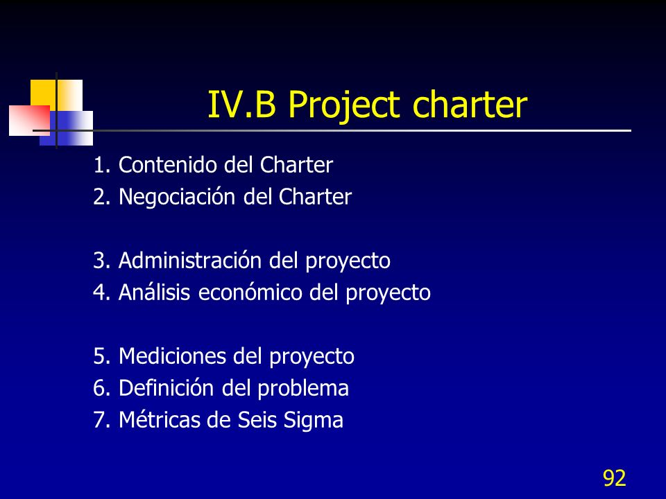 IV.B Project charter