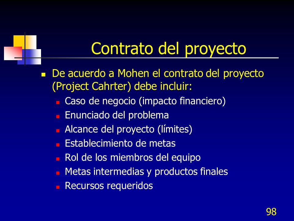 Contrato del proyecto De acuerdo a Mohen el contrato del proyecto (Project Cahrter) debe incluir: Caso de negocio (impacto financiero)