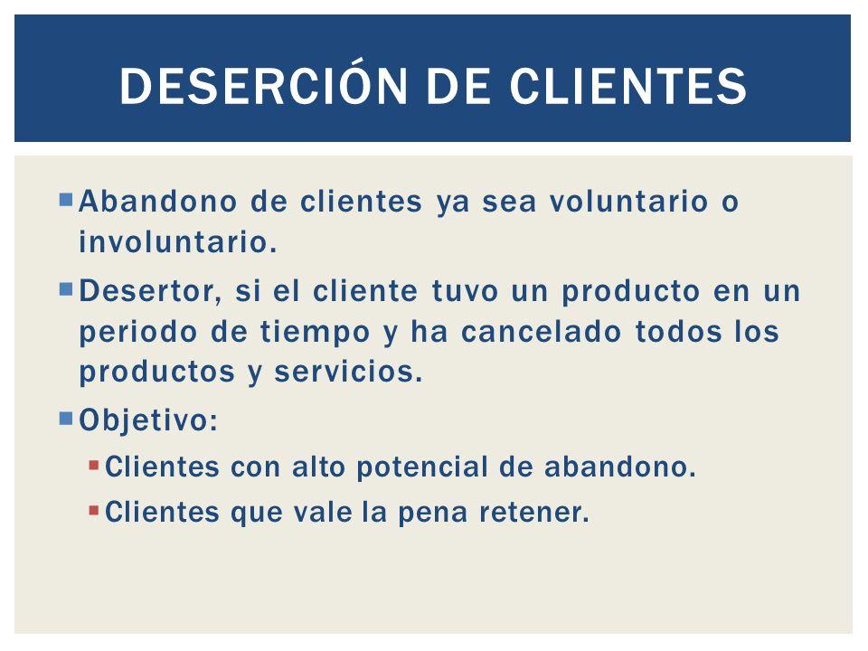 Deserción de clientes Abandono de clientes ya sea voluntario o involuntario.