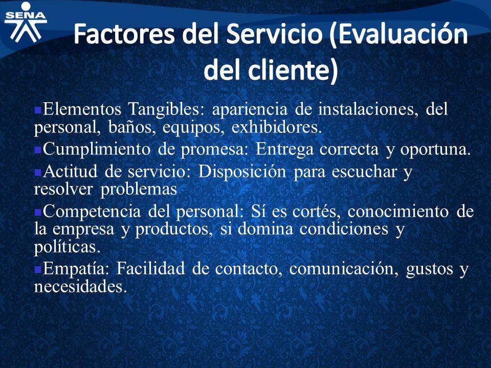 Factores del Servicio (Evaluación del cliente)