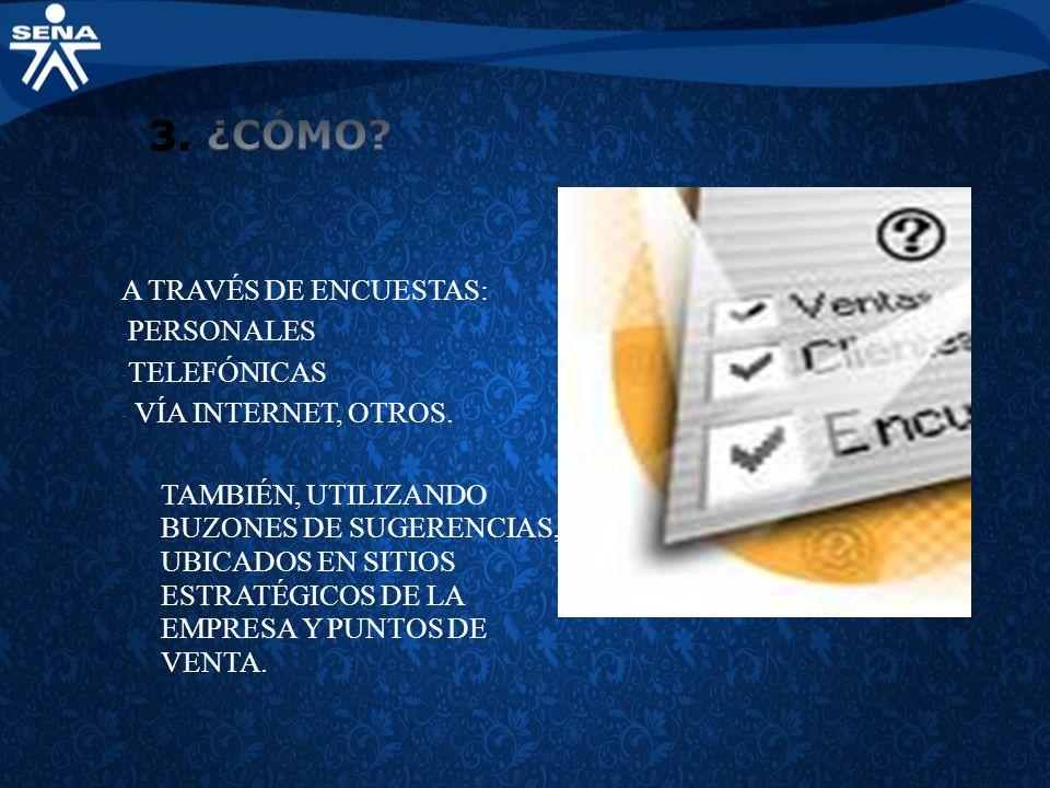 3. ¿CÓMO A TRAVÉS DE ENCUESTAS: PERSONALES TELEFÓNICAS