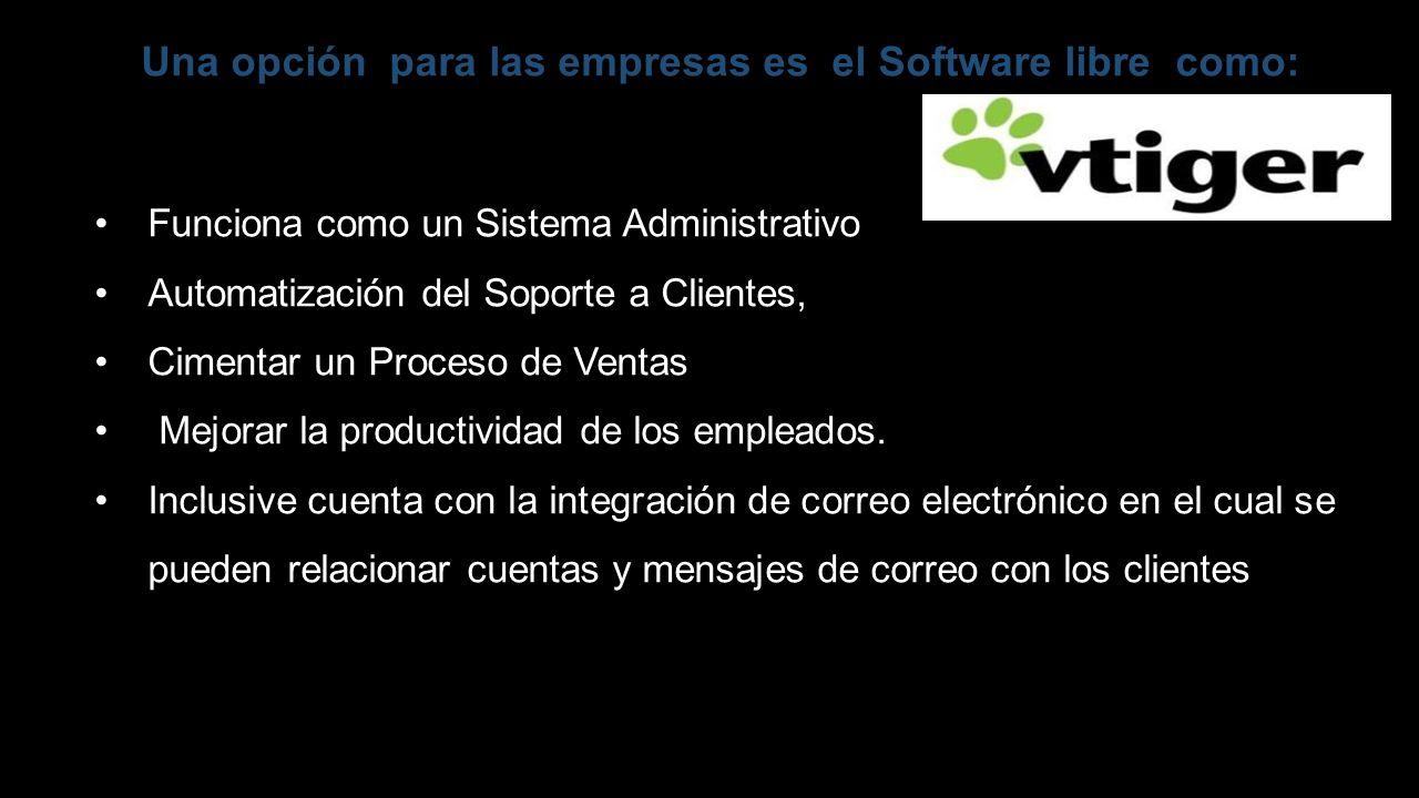 Una opción para las empresas es el Software libre como: