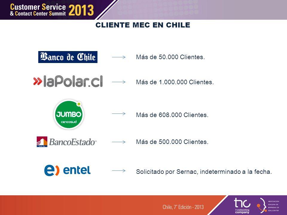 CLIENTE MEC EN CHILE Más de 50.000 Clientes.