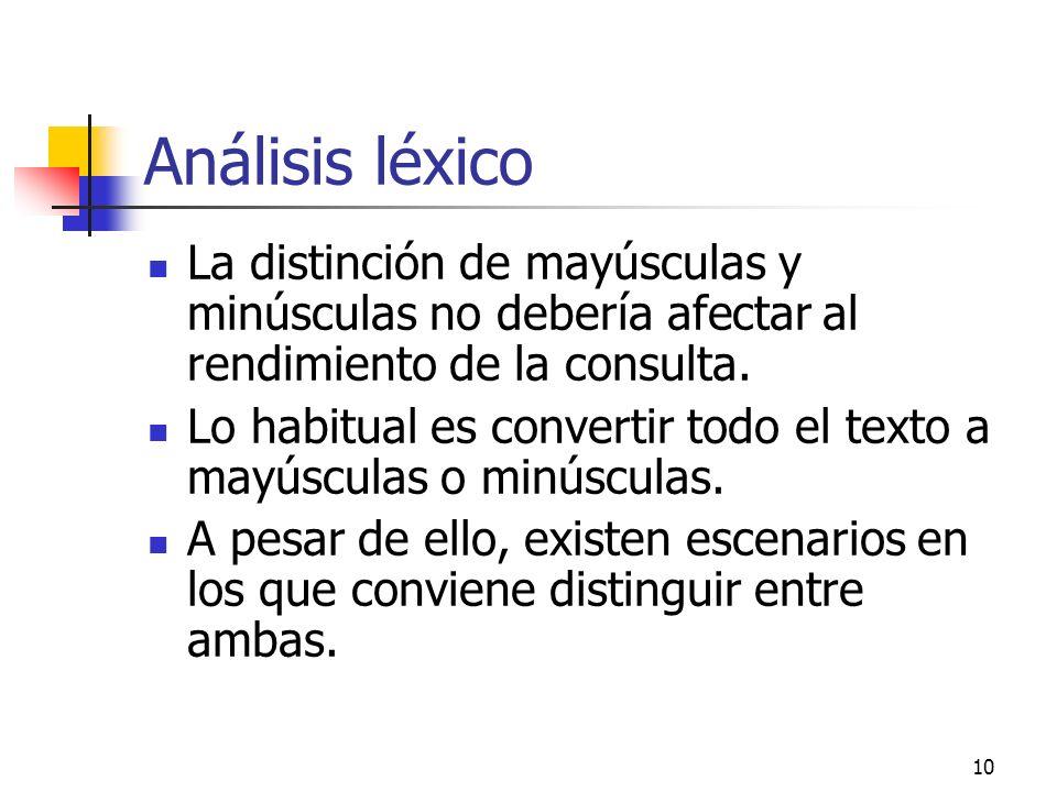 Análisis léxico La distinción de mayúsculas y minúsculas no debería afectar al rendimiento de la consulta.