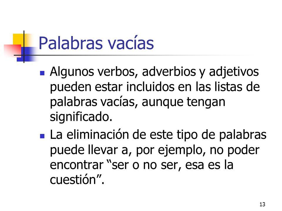 Palabras vacíasAlgunos verbos, adverbios y adjetivos pueden estar incluidos en las listas de palabras vacías, aunque tengan significado.