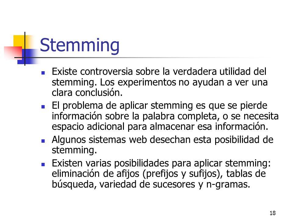 Stemming Existe controversia sobre la verdadera utilidad del stemming. Los experimentos no ayudan a ver una clara conclusión.