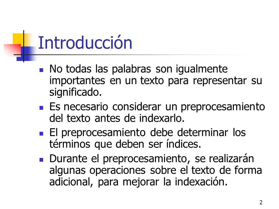 Introducción No todas las palabras son igualmente importantes en un texto para representar su significado.