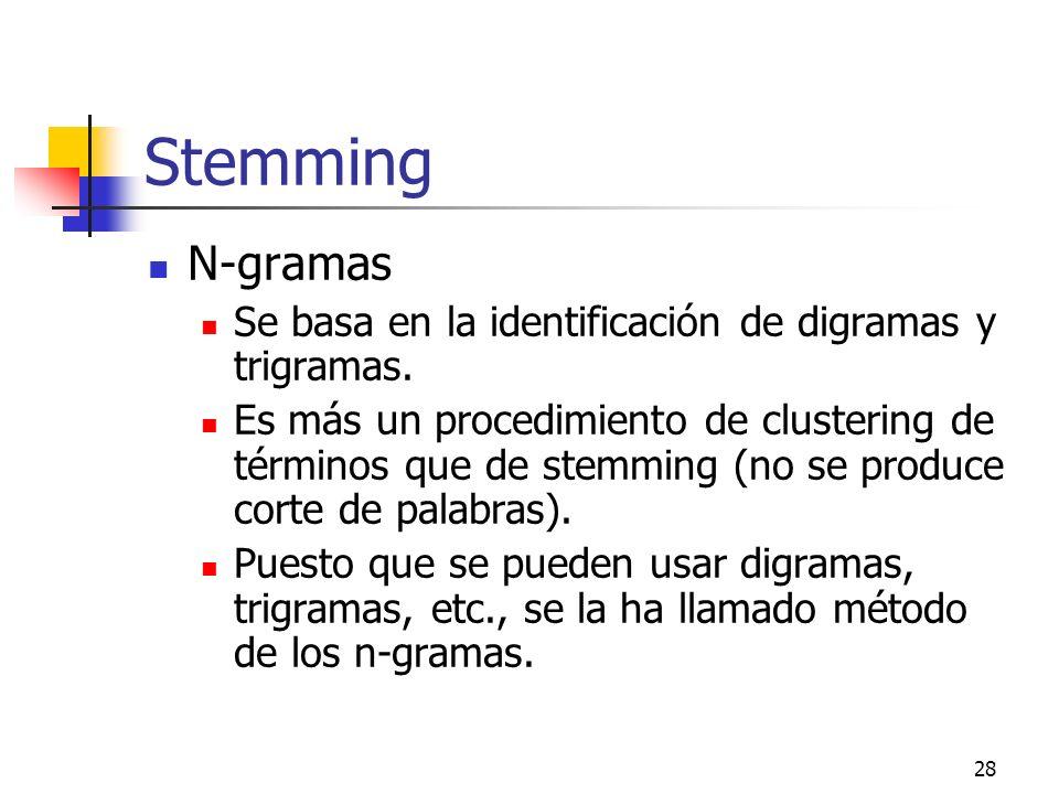 Stemming N-gramas. Se basa en la identificación de digramas y trigramas.