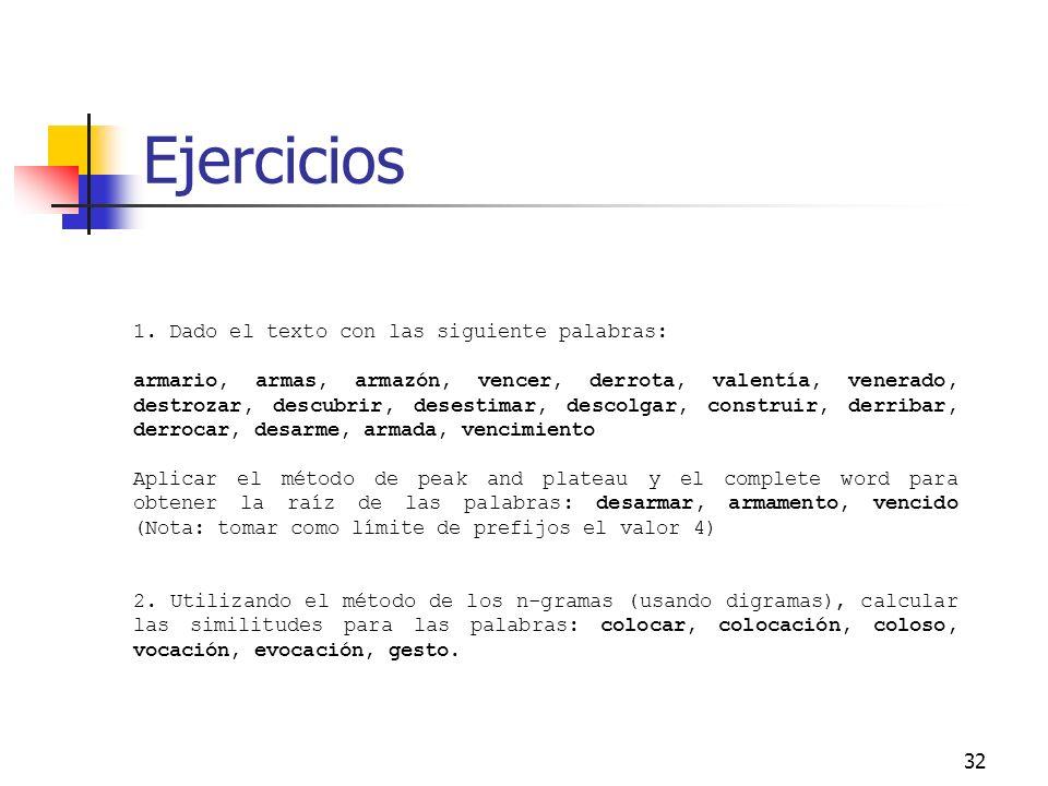 Ejercicios 1. Dado el texto con las siguiente palabras: