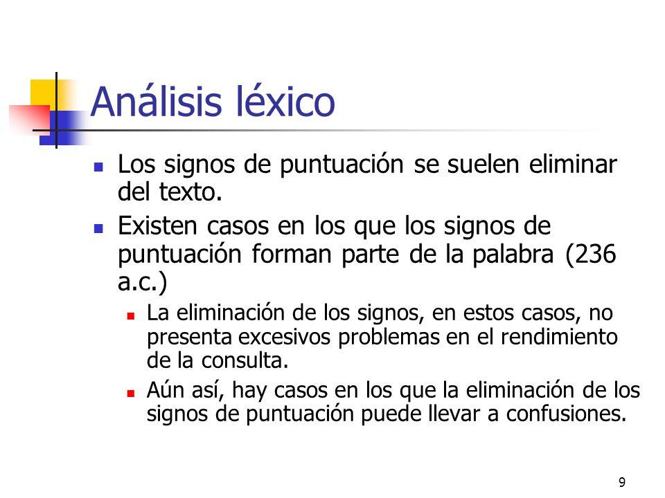 Análisis léxico Los signos de puntuación se suelen eliminar del texto.