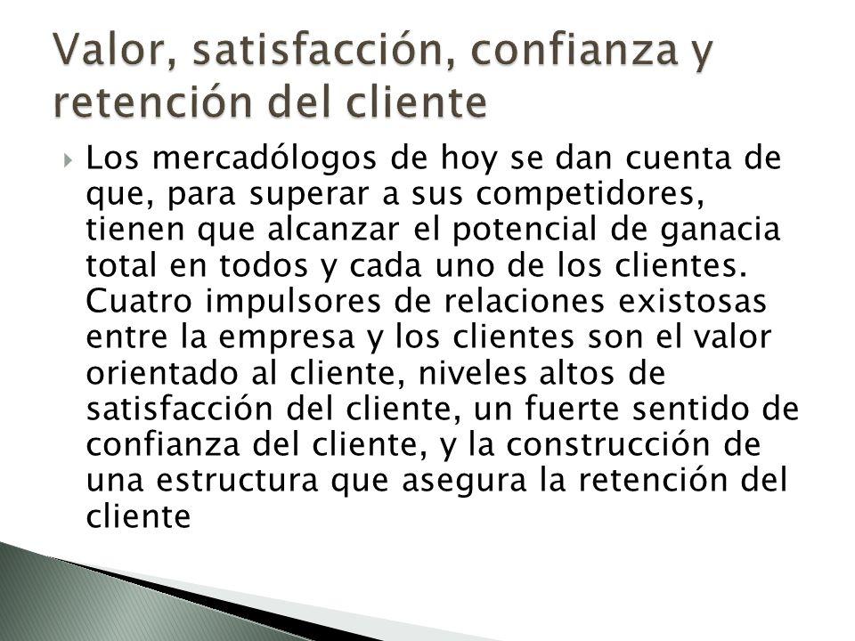 Valor, satisfacción, confianza y retención del cliente